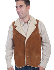 "This stylish ""Mountain Man"" Scully Men's Shearling western vest features faux shearling notched lapels and lining with a button front closure. It has front and back yokes with two lower front smile pockets."