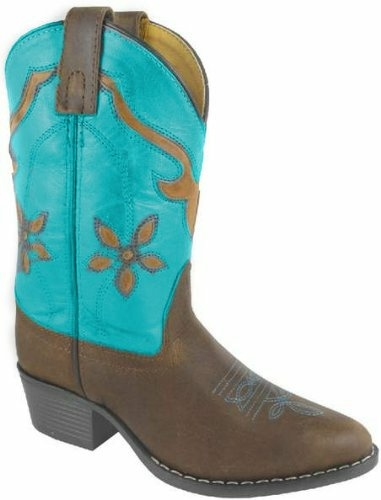 """Turquoise Cactus Flower"" leather cowgirl boots"