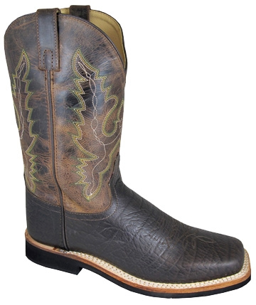 """Roger"" Dark Brown Crackle Mens Square Toe Cowboy Boots"