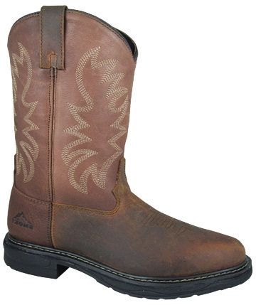 "These Mens ""Buffalo Brown Steel Toe"" EH RATED Cowboy boots are electrical hazard work boots for being safe with a steel shank and shock absorbing sole. These mens western work boots wicks away moisture."