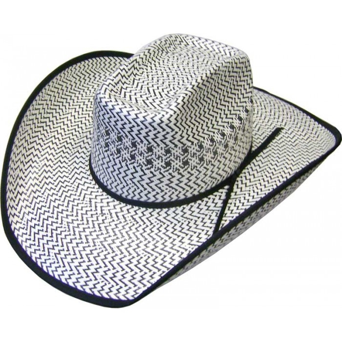 500X 8 Second Two-Tone Shantung Black White Straw Cowboy Hat