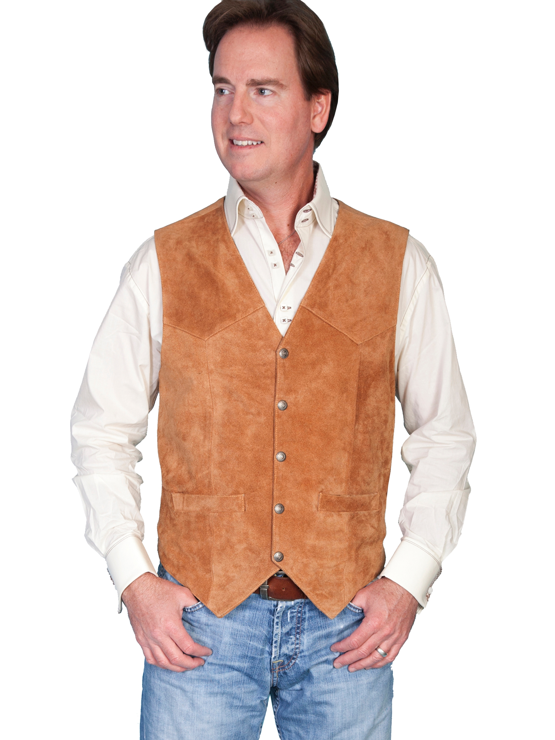 Mens Scully Calfe Suede Rustic leather western vest, mens western vest, western vest for men, suede western vest, scully vest, scully mens vest, fringe western vest, western fringe vest, leather western vest