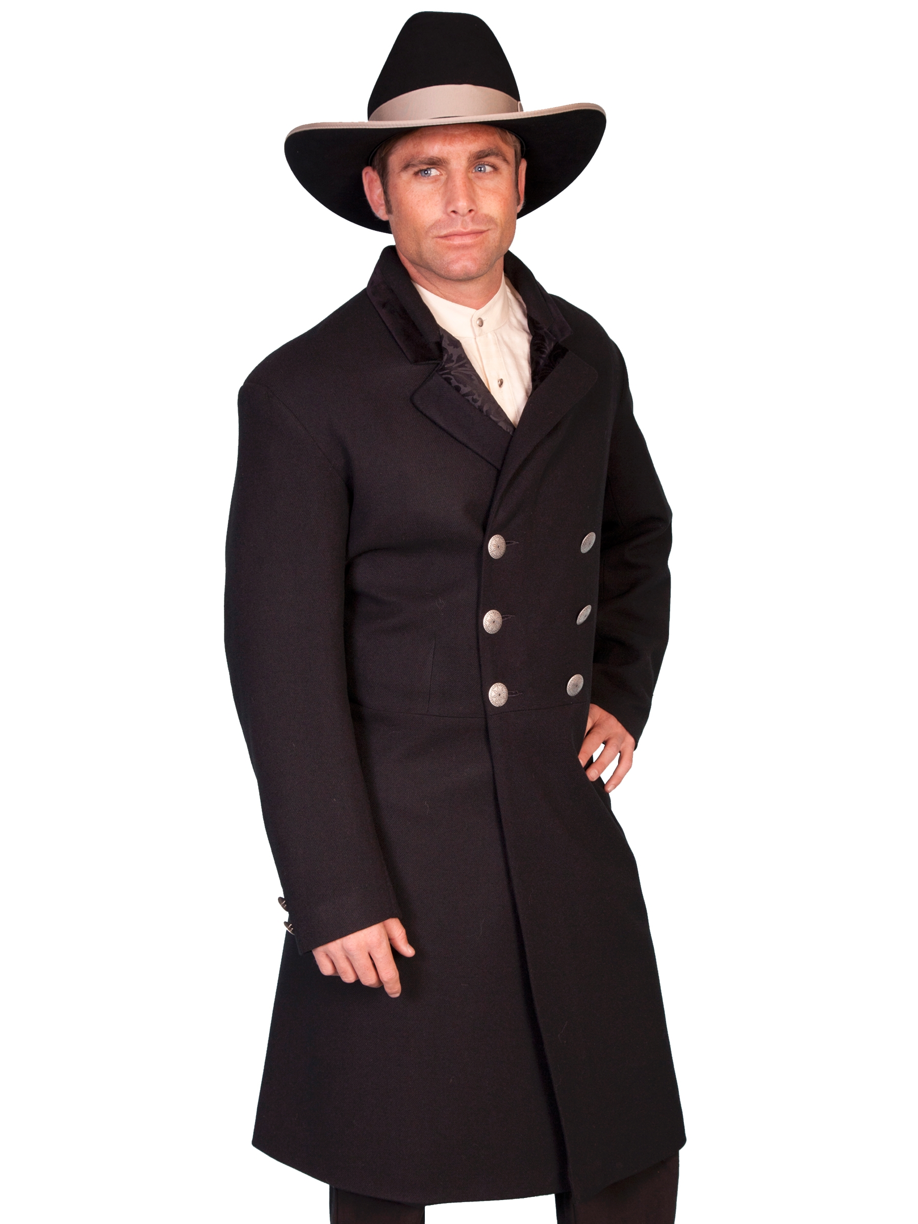 USA Made 100% Wool Mens Scully Black Double Breasted Frock Coat