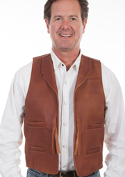 "The ""Wayne"" Scully Brown leather Tassel Front Mens Old West Vest could be worn to as the classic old western movie john wayne look. Leather notched lapels and an adjustable back strap."