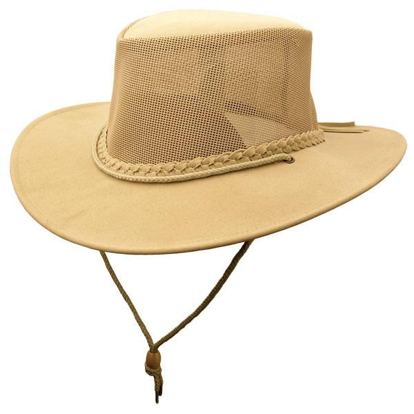 """Soaka Breeze"" Tan Mesh Crown Aussie Hat UV rated, mens cowboy hat, womens cowboy hat, cowboy hat with draw string, waterproof cowboy hat, Kakadu soaka"