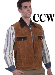 This handsome Mens Scully Brown Suede Concealed Carry Western Vest features a zip front closure with contrasting chocolate brown suede collar. The interior is lined with an inside concealed carry pocket.