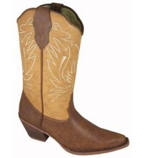 """Madelyn"" Womens Two-Tone Brown snip toe cowboy boots"