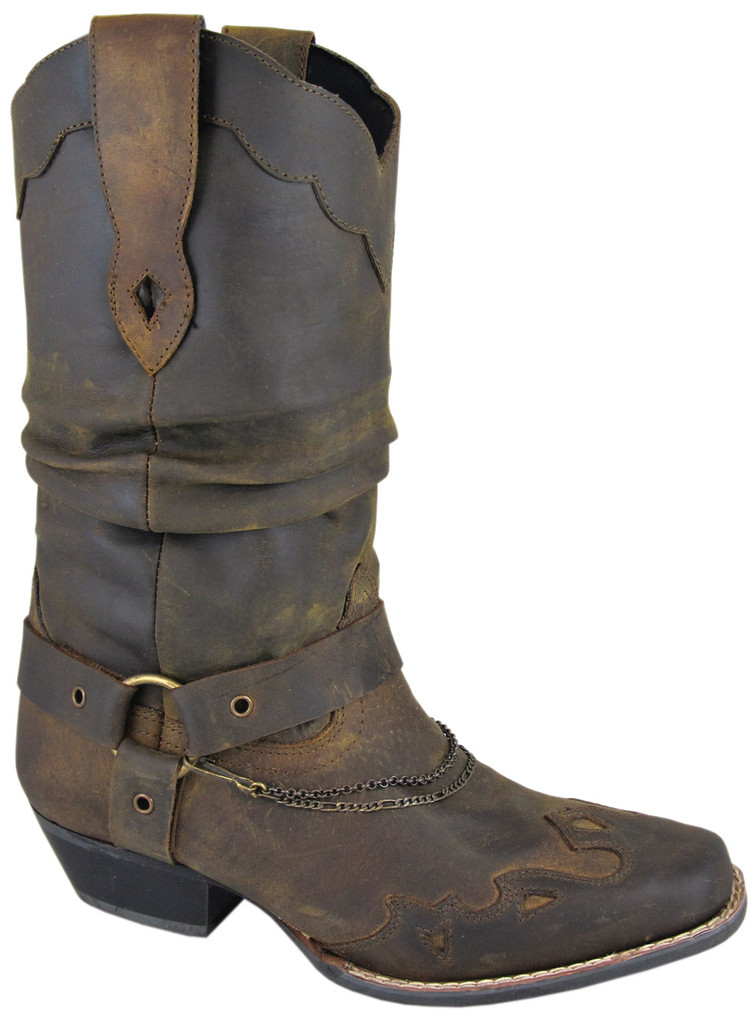 """Avalon"" Womens Brown slouch Square Toe Cowboy Boots"