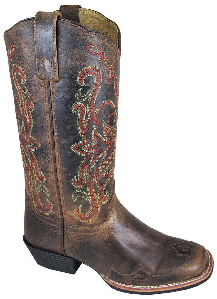 """Rialto"" Womens Brown Leather Square Toe Cowgirl Boots"