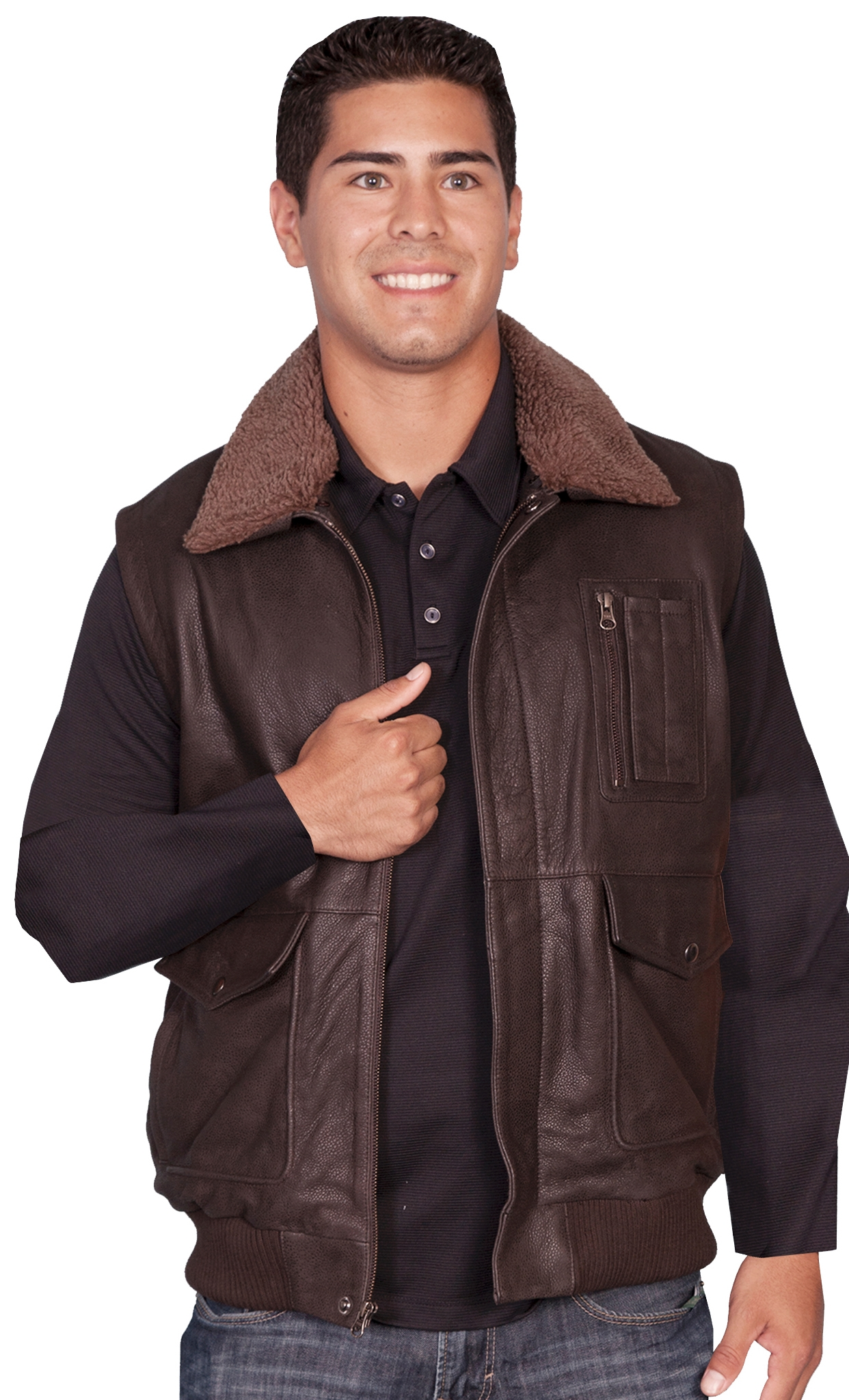 Mens Scully Buffed Brown Leather Bomber Vest, bomber leather vest, mens bomber vest, fur western vest, sheepskin vest, sheepskin vest for men, fur vest for men