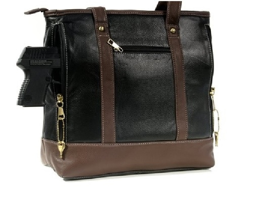 Our Women's Large Black Leather Tote Concealed Handbag has an actual Holster that means no printing on your purse. No printing with this included gun holster for your leather concealed handbag.