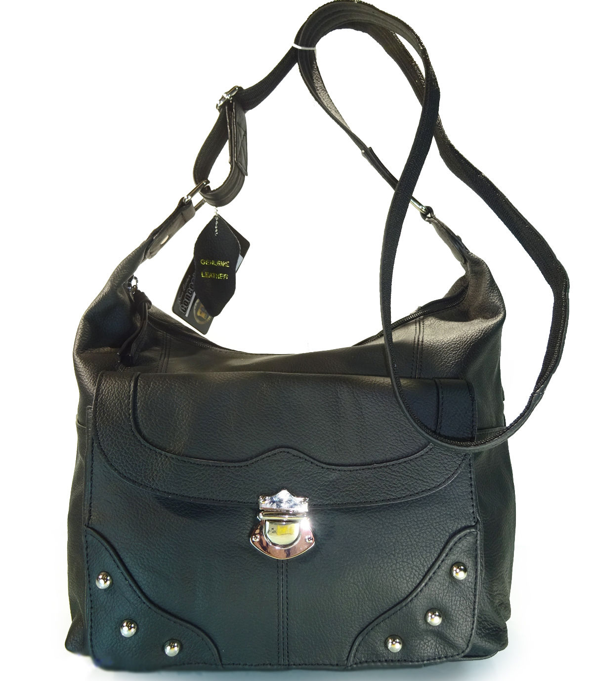 "Our ""Elaine"" Women's Black Leather Stud Concealed Handbag has an actual Holster that means no printing on your purse. No printing with this included gun holster for your leather concealed handbag."