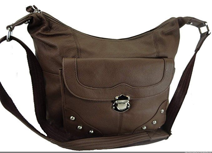 "Our ""Elaine"" Women's Brown Leather Stud Concealed Handbag has an actual Holster that means no printing on your purse. No printing with this included gun holster for your leather concealed handbag."