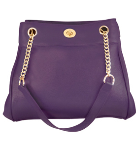 """Laurie"" Women's Purple Leather Chain Strap Concealed Carry Purse has an actual Holster that means no printing on your purse. No printing with this included gun holster for your leather concealed handbag."