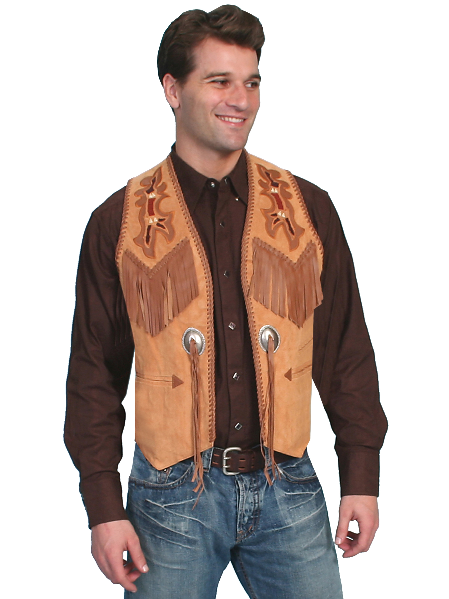 Mens Western Vests Suede Leather Polyester Or Canvas