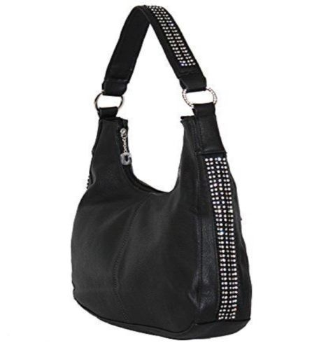 """Jenny"" Women's Black Rhinestone Concealed Hobo Purse Handbag has an actual Holster that means no printing on your purse. No printing with this included gun holster for your leather concealed handbag."