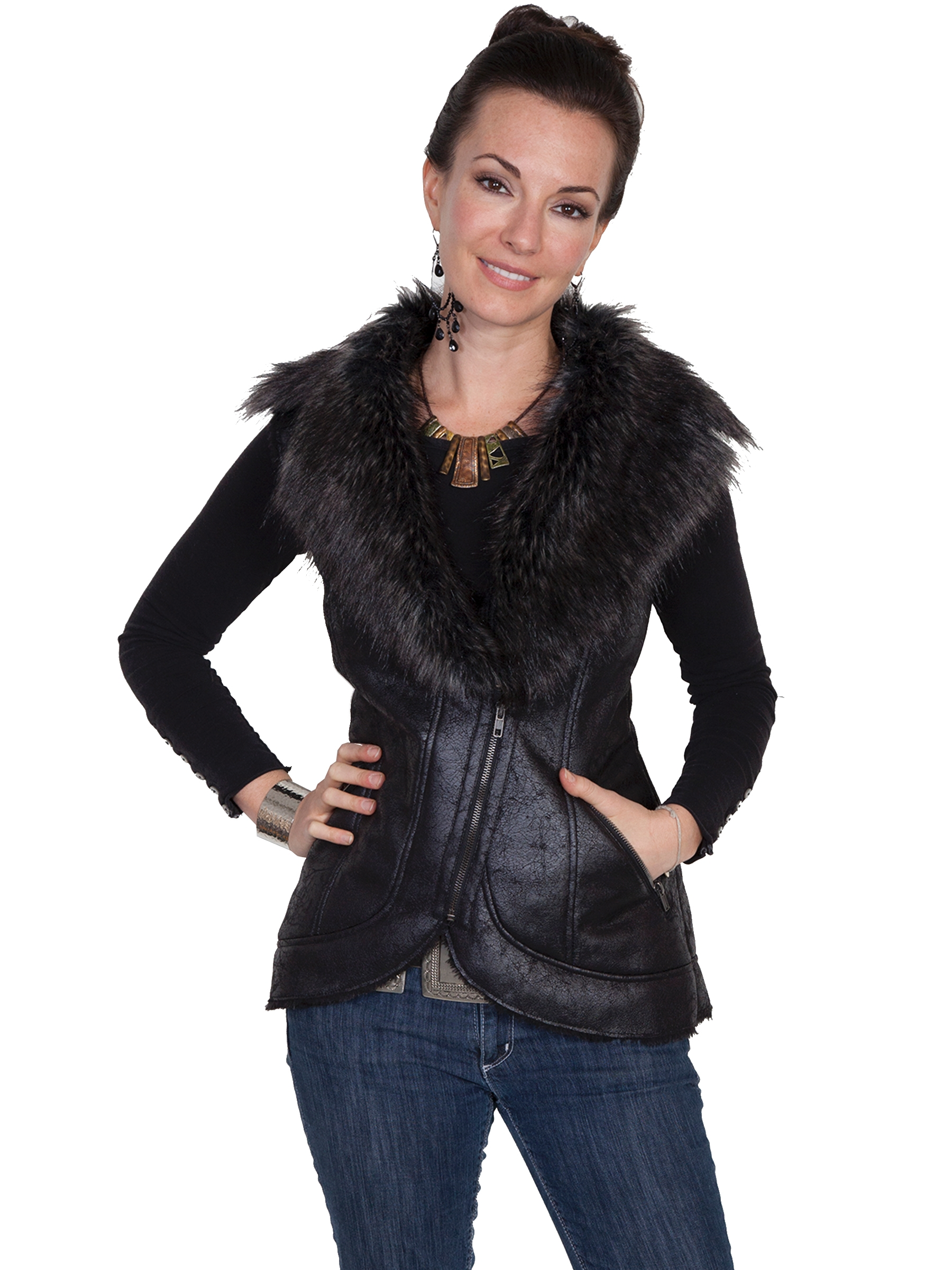 Layer your next outfit for the fall in this cargo vest with genuine fox fur collar details and multiple front closures. Genuine Fox Fur Collar Cargo Vest. Fur: Genuine fox fur.