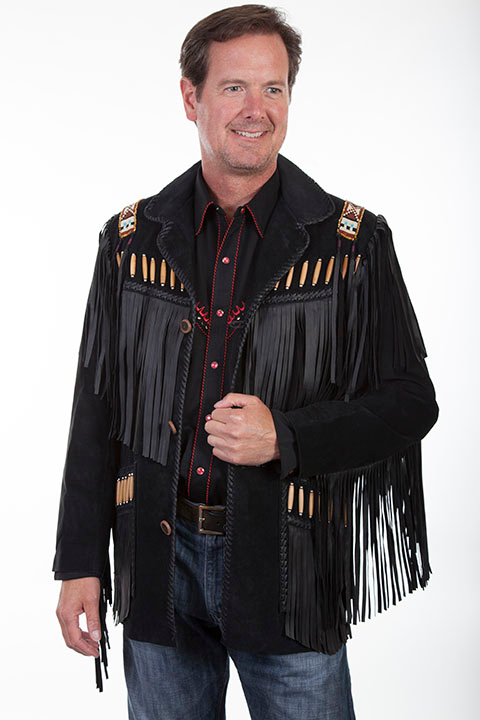 Scully Mens Black Boar Suede Native Bone Fringe Jacket, scully coats, scully jackets, leather western jackets, western fringe jackets, fringe western jackets, daniel boone jacket, davey crocket jacket,