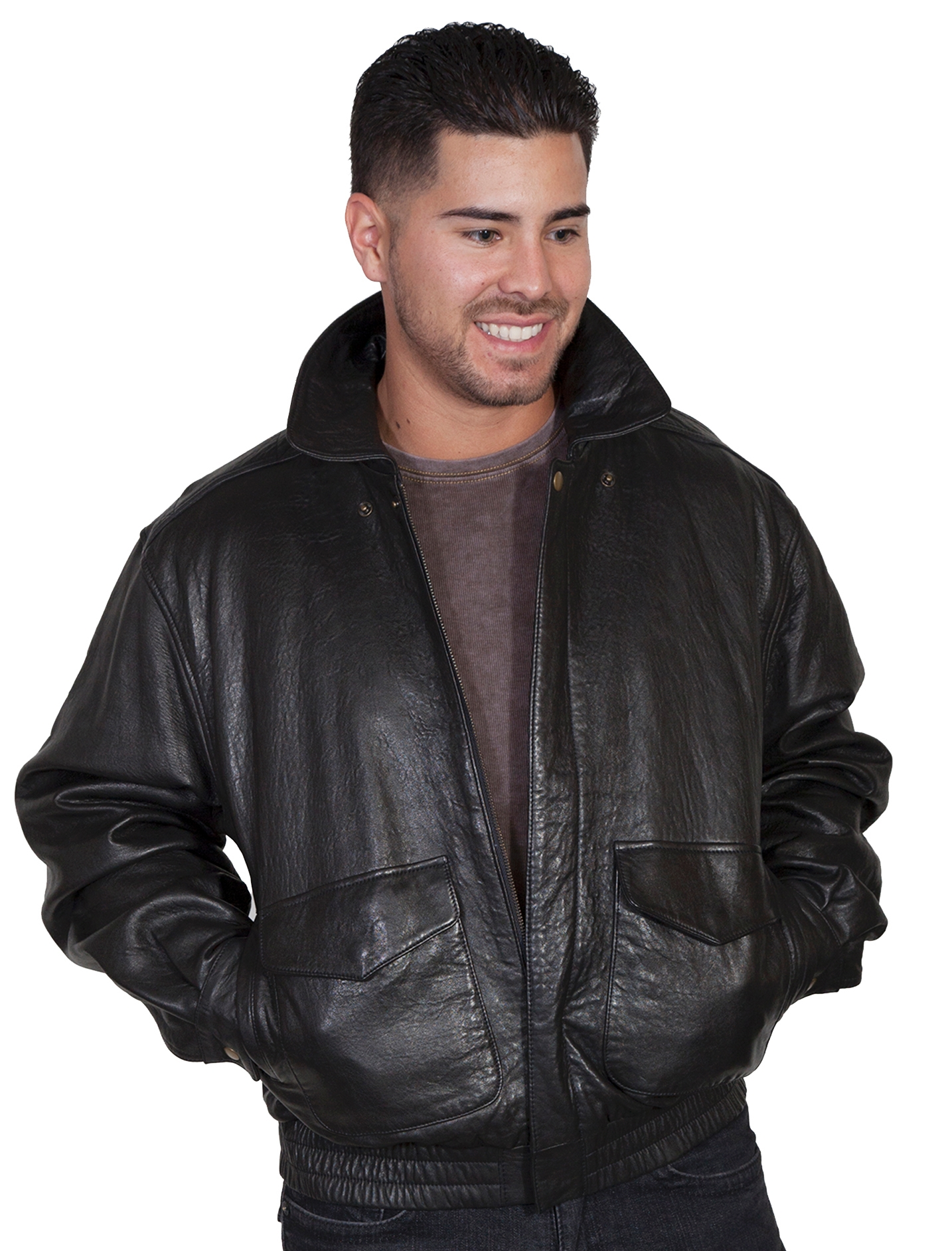 """Danny"" Mens Scully Antique Brown Lambskin Jacket"