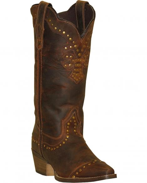 Womens Nailhead Snip Toe Rawhide Brown Cowboy Boots - USA made