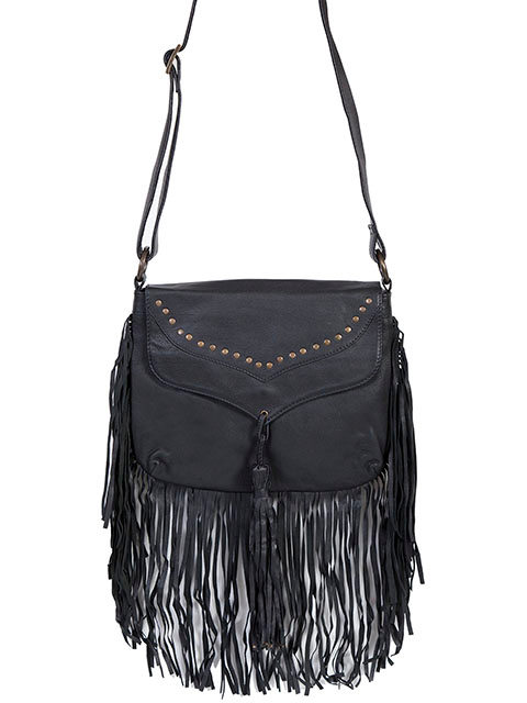 "The ""Stacy"" Scully Soft Black Lambskin Leather Fringe Western Purse is a very soft lambskin leather with fringe and tassels. The black leather flap has a studded trim with adjustable shoulder strap for cross body carry."