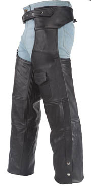 Black leather western work chaps with lining