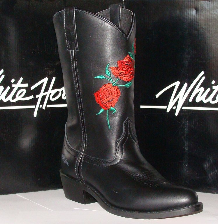 New ladies red rose embroidered black leather cowboy