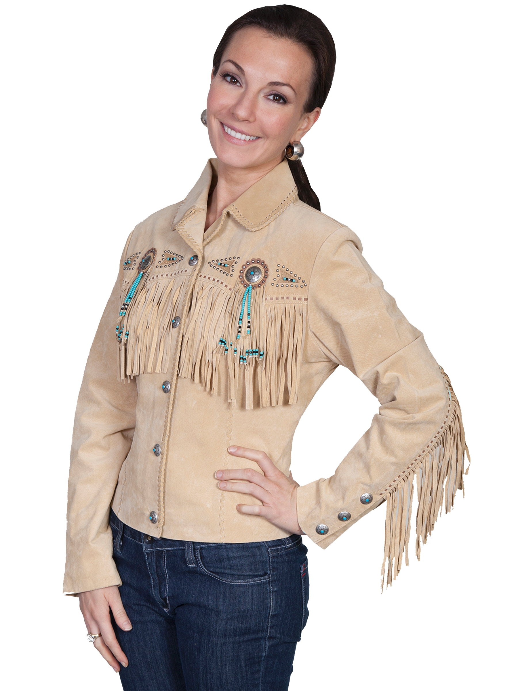 "Womens Scully ""Fawn"" Beaded fringe western jacket"