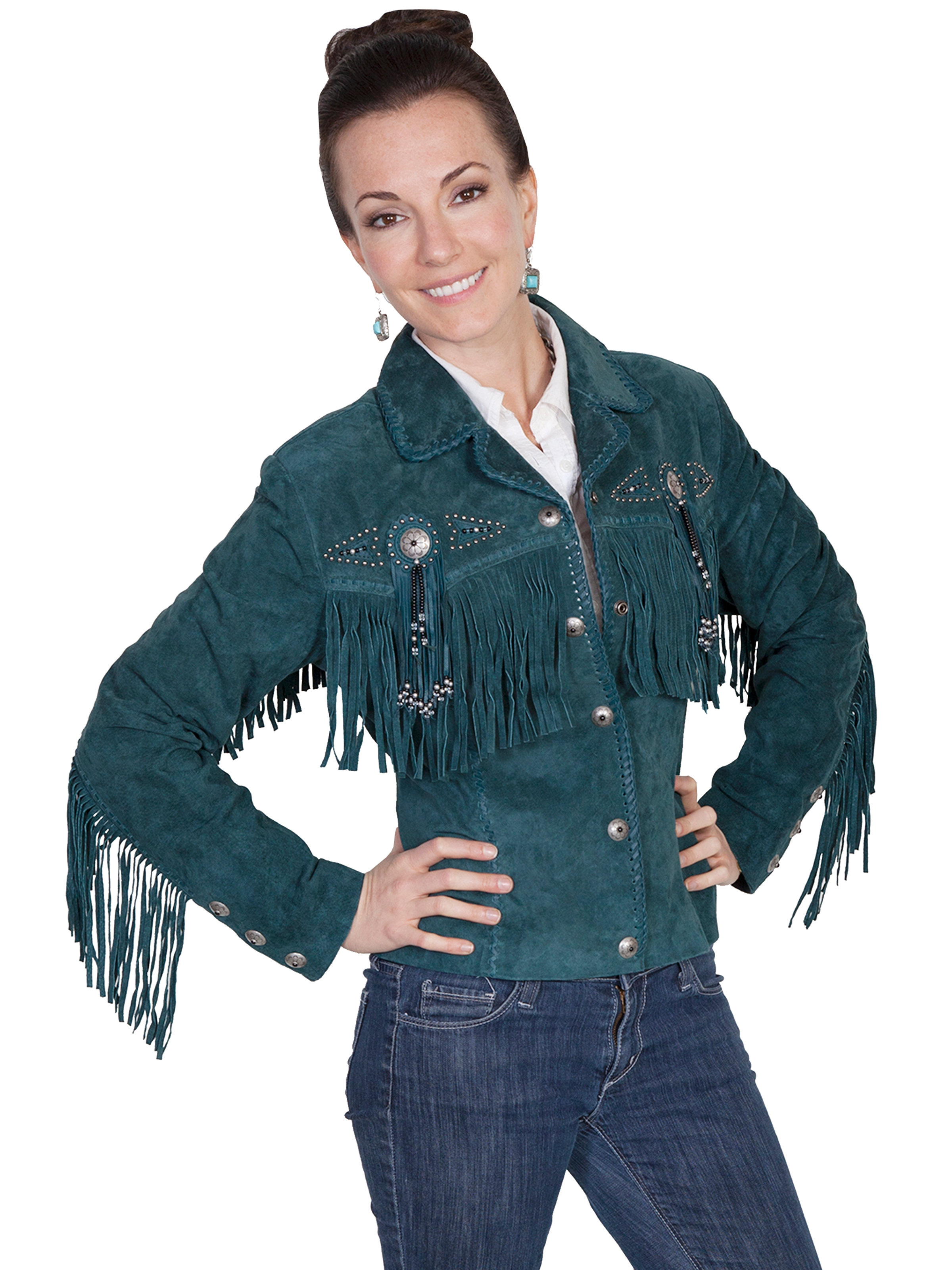 "Ladies"" Fawn"" Teal boar suede western jacket by Scully"