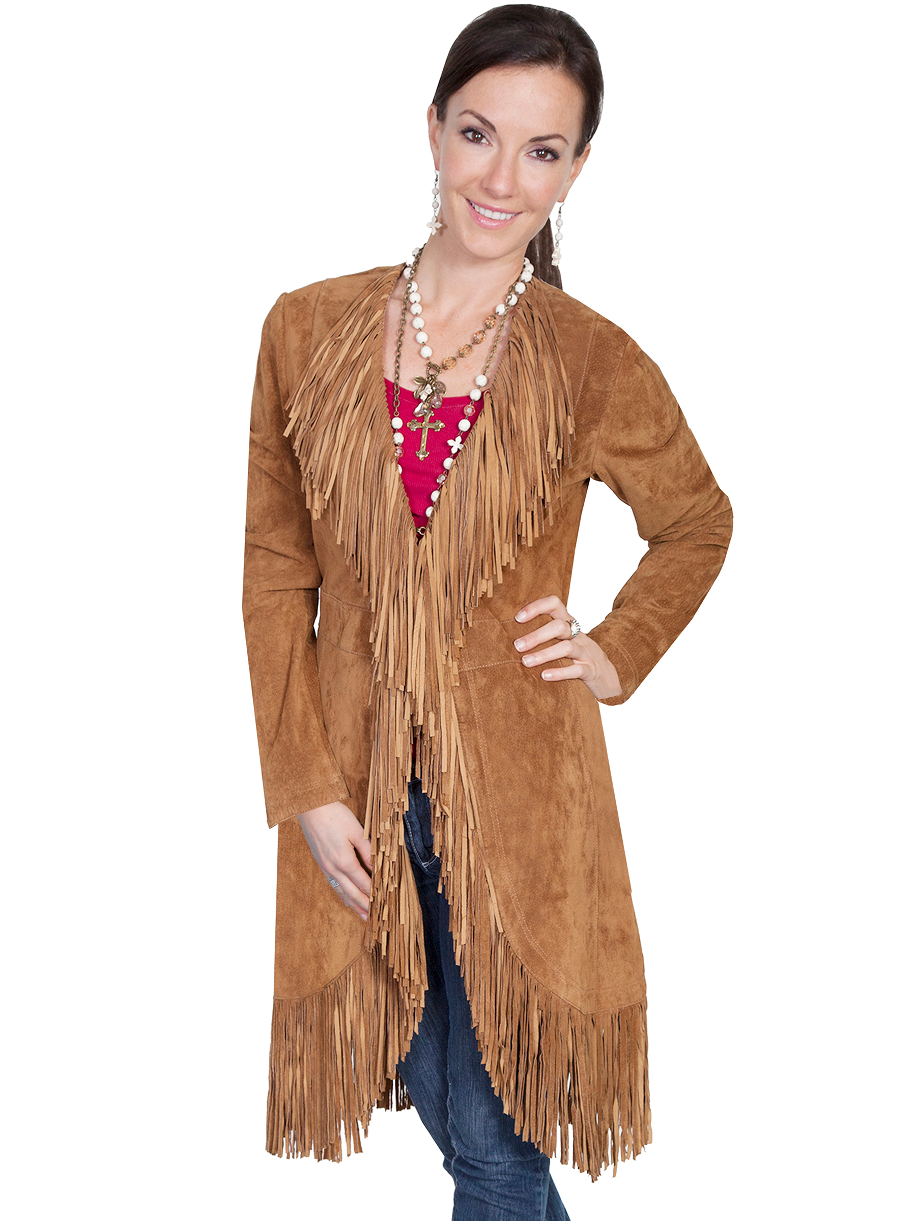 """Dakota"" Scully Womens Full Fringe Brown Suede Coat, Scully Womens Full Fringe Black Suede Coat, Womens Scully fringe Suede Coat"
