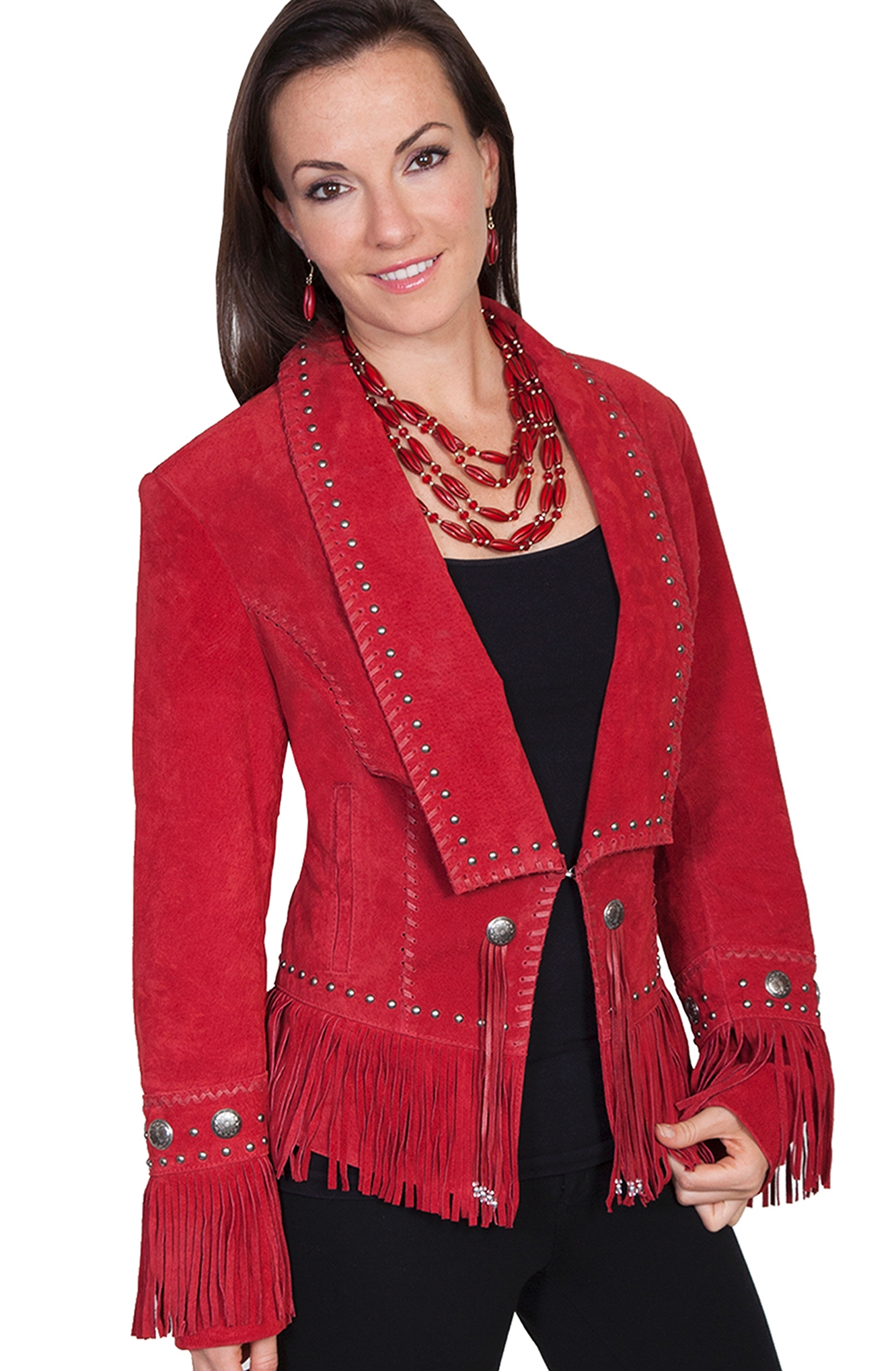 """Senorita"" Scully Womens Red Fringe Western Jacket"