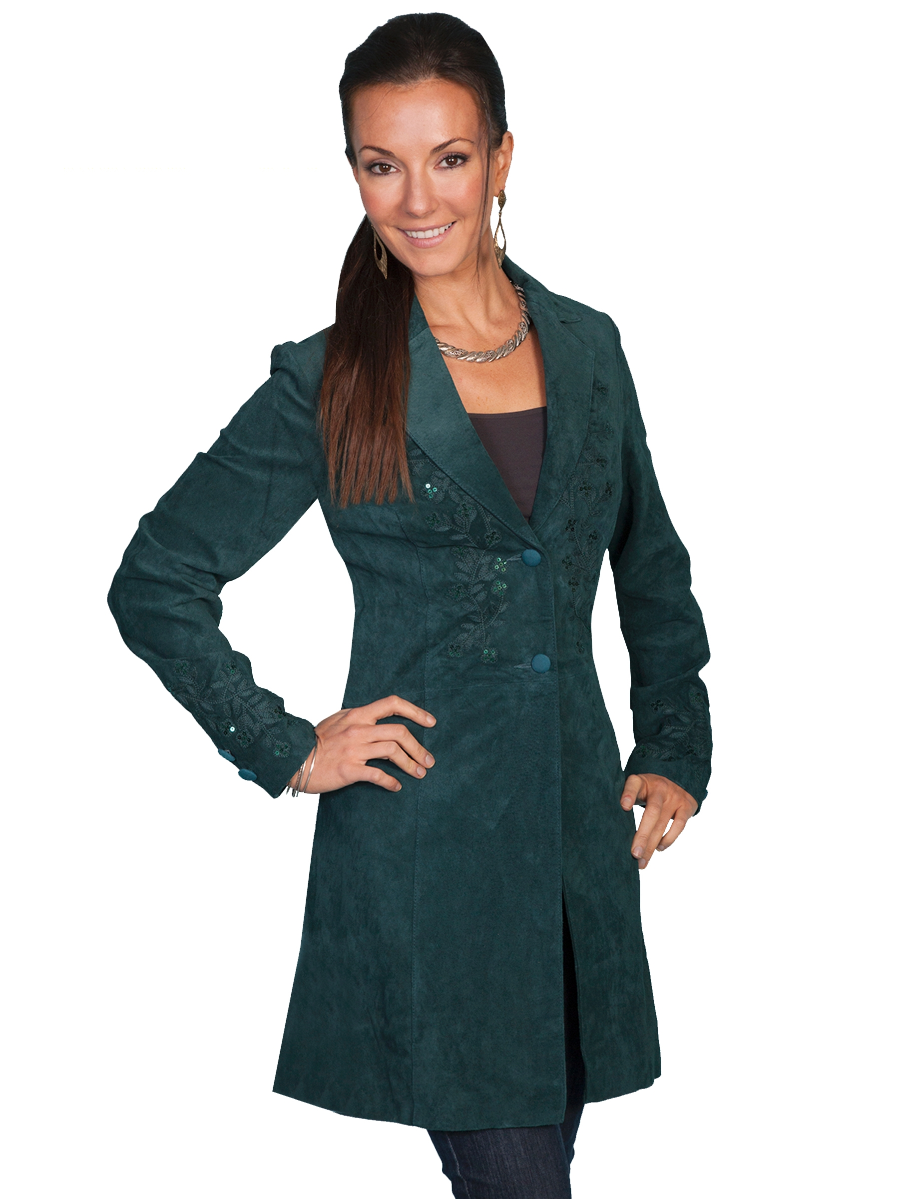Womens Scully Sequence Olive boar suede long western coat