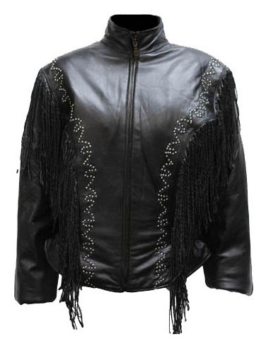 "Lady Morgan"" Womens Black Silver Studded Fringe Jacket, womens Fringe Jacket,Native Beads and fringe Womens Western Jacket,"