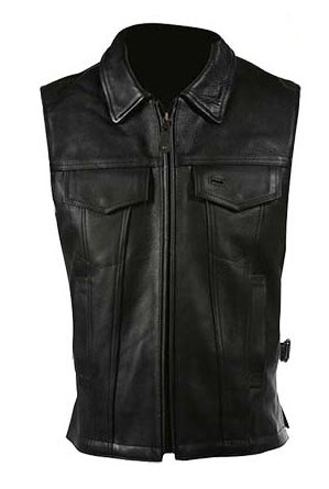how to wear a black leather vest