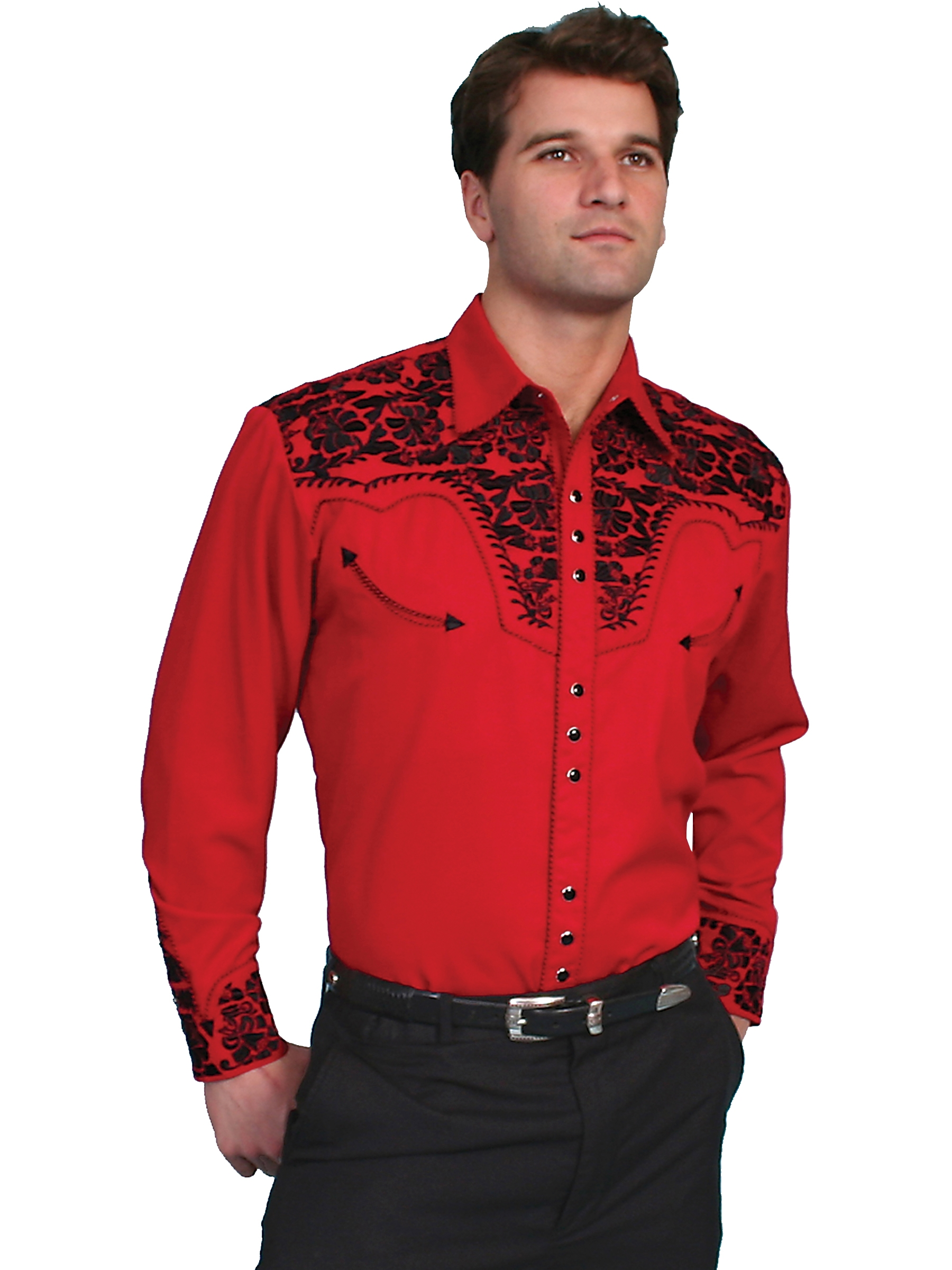"This Alan Jackson ""Good Time"" Mens Red western shirt by Scully is a western favorite with the beautiful vintage smiley pockets and retro floral embroidered yoke complete with pearl snaps to make this a great cowboy shirt."