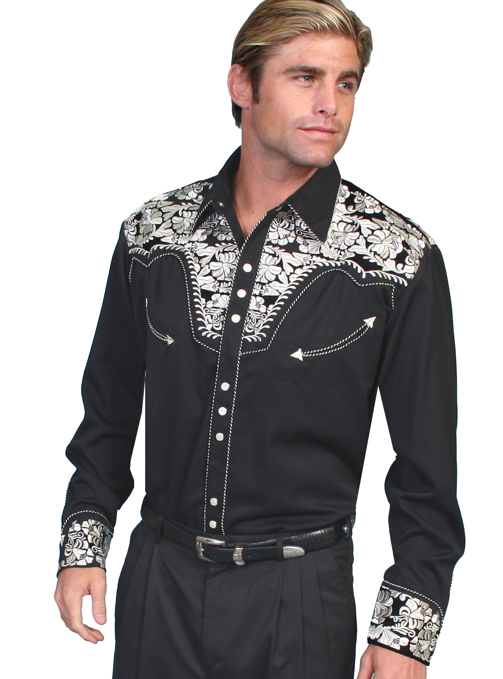 "This ""Silver Gunfighter"" Black western mens shirt by Scully is a western favorite with the beautiful vintage smiley pockets and retro floral embroidered yoke complete with pearl snaps to make this a great cowboy shirt."