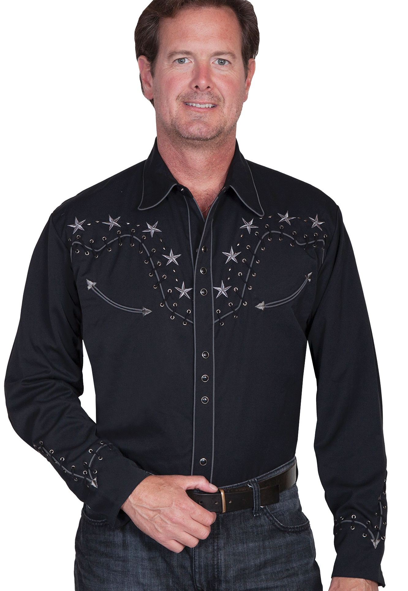 Mens Scully Whip Stitch Western Star Black Cowboy Shirt