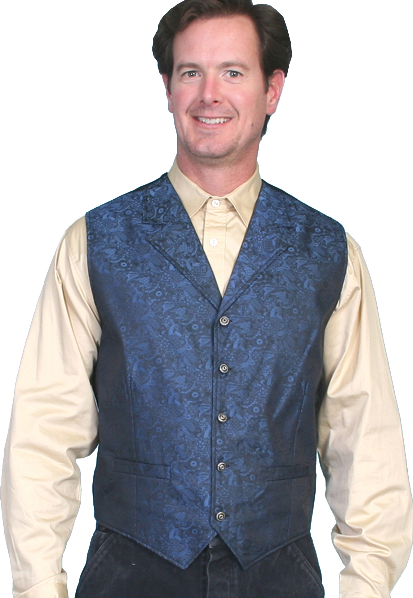 Scully Mens Classic old time Blue Lapel paisley vest, mens western vest, western vest for men, Paisley western vest, scully vest, scully mens vest, western wedding vest