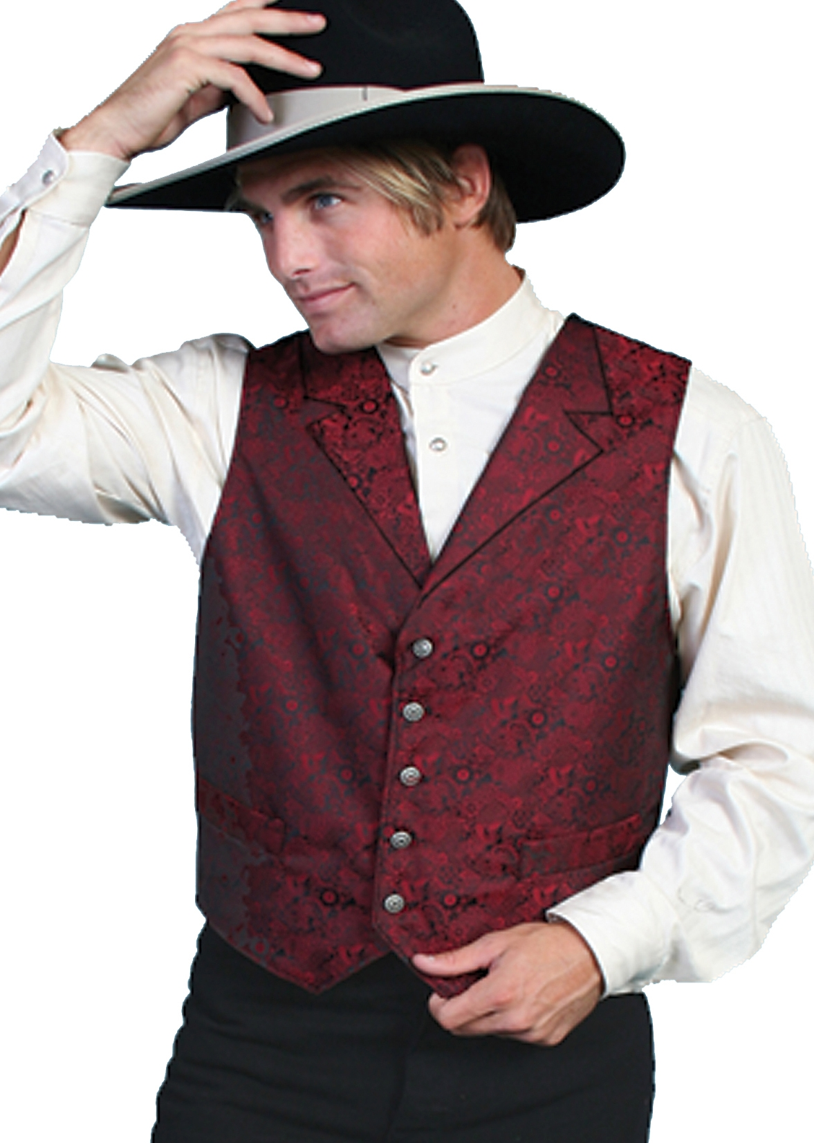 Scully Mens Classic old time Red Lapel paisley vest, mens western vest, western vest for men, Paisley western vest, scully vest, scully mens vest, western wedding vest