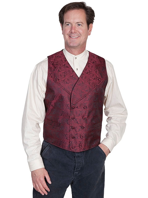 Scully Mens Burgundy Wide Notched Lapel Paisley Dress Vest, mens western vest, western vest for men, Paisley western vest, scully vest, scully mens vest, western wedding vest