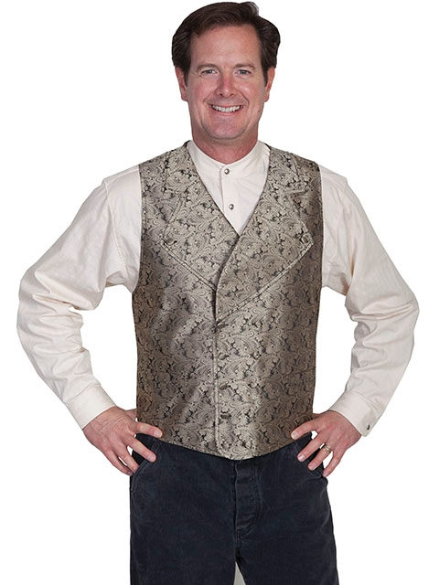 Scully Mens Taupe Notched Lapel Double Breasted Paisley Vest