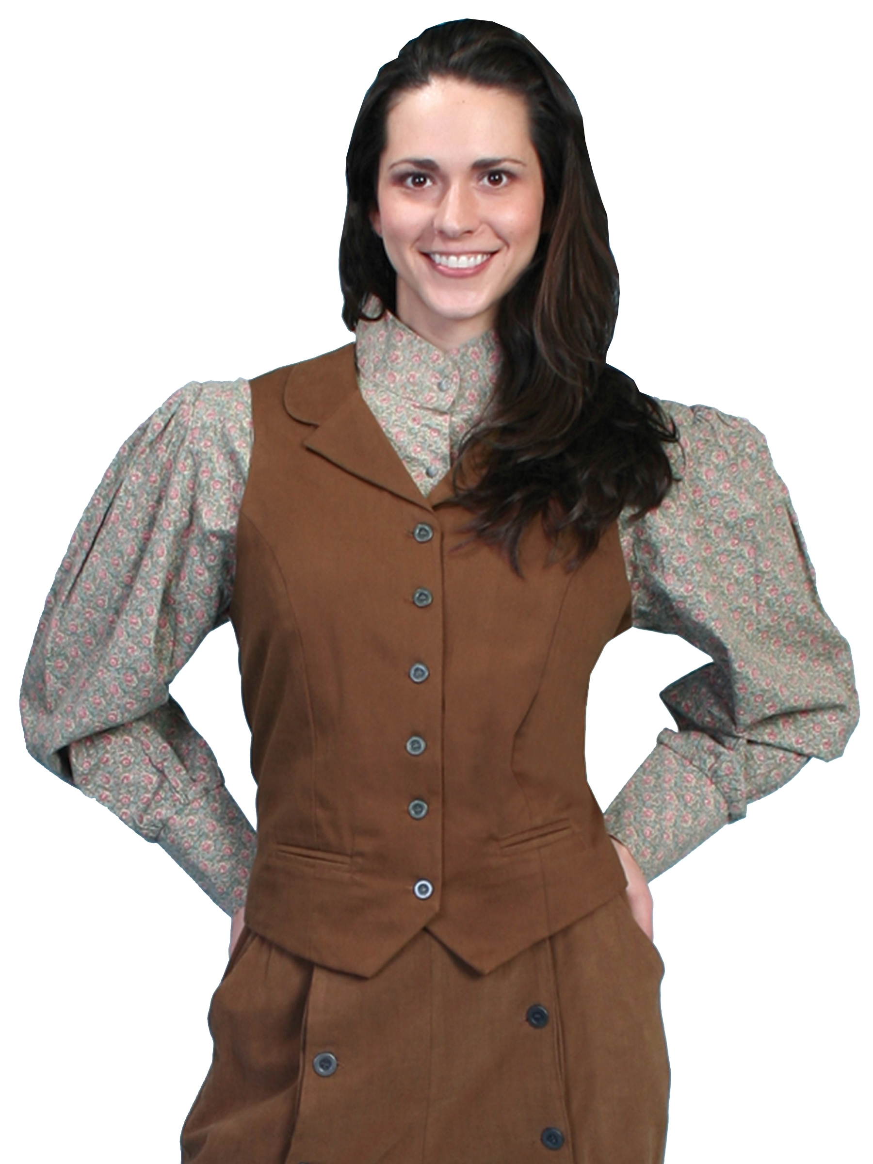 Womens Scully USA Made Brown Victorian vest, scully western vest, scully vest, 1800's womens vest, womens 1800's western vest, 1800's vest for women