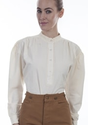Womens Scully Ivory banded collar western shirt. White western shirt. Ladies white western shirt. Scully western shirt, ladies scully shirt, womens scully shirt