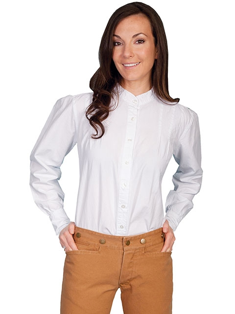 Womens Scully White banded collar western shirt, Ladies white western shirt. Scully western shirt, ladies scully shirt, womens scully shirt