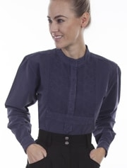 Womens Scully 1800's pullover Blue Denim Bib blouse