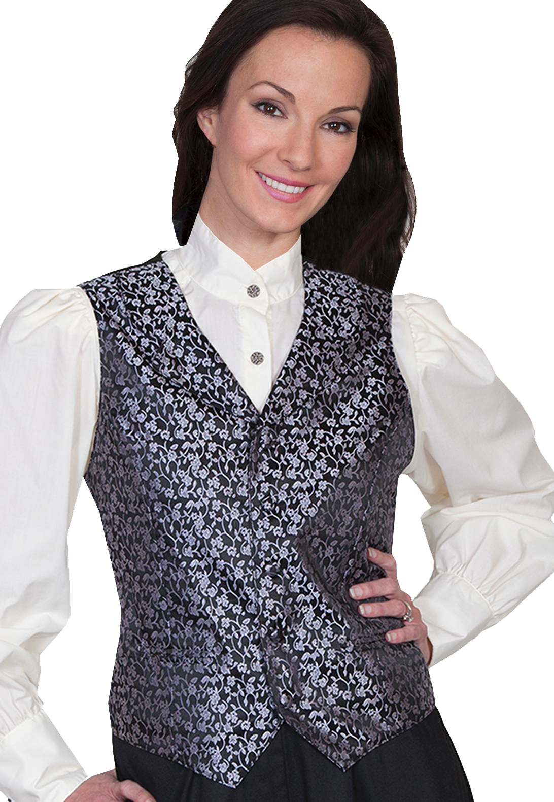 Womens Scully black Rose Vine Paisley Western Vest, Womens Victorian vest, scully western vest, scully vest, 1800's womens vest, womens 1800's western vest, 1800's vest for women