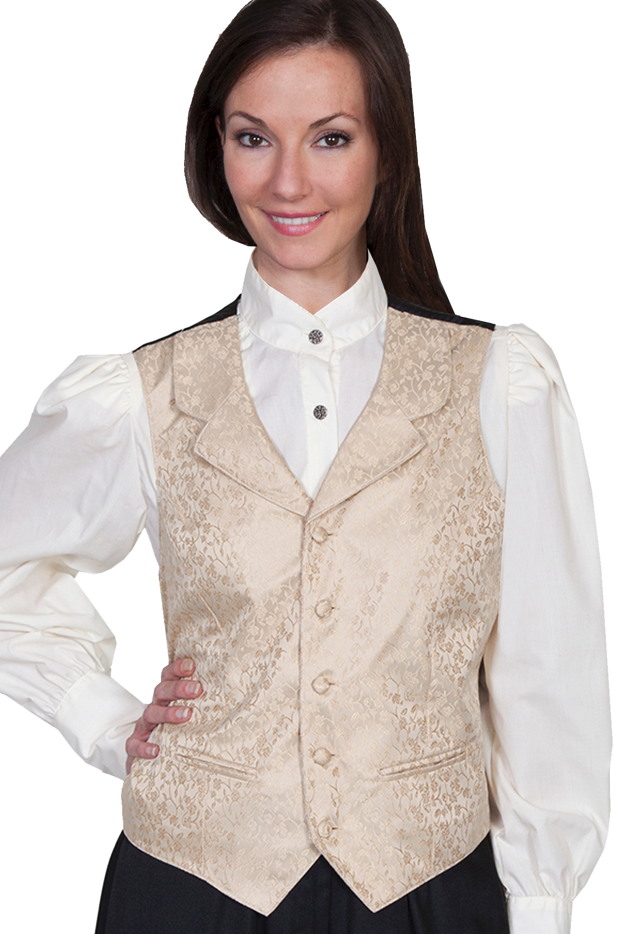 Womens Scully tan Rose Vine Paisley Western Vest, Womens Victorian vest, scully western vest, scully vest, 1800's womens vest, womens 1800's western vest, 1800's vest for women
