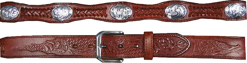Adult Silver Concho Brown Leather Western Belt, Adult Bucking Bronco Silver Concho Leather Western Belt, Adult Tooled Leather Brown Western Belt,