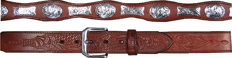 Adult Silver Ferrules brown Leather Western Belt, Adult Silver Concho Brown Leather Western Belt, Adult Bucking Bronco Silver Concho Leather Western Belt, Adult Tooled Leather Brown Western Belt,