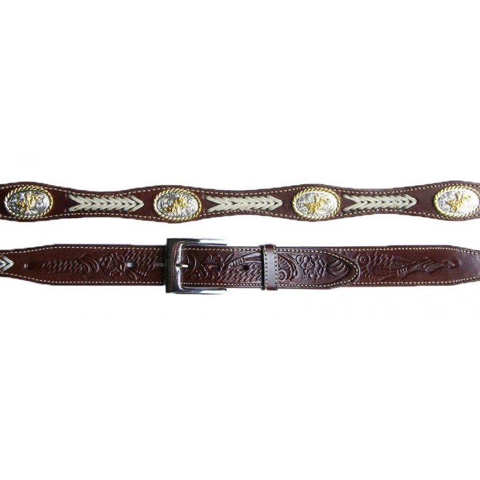 Adult Bucking Bronco Silver Concho Leather Western Belt, Adult Tooled Leather Brown Western Belt, leather western belt, mens brown western belt, brown leather western belt